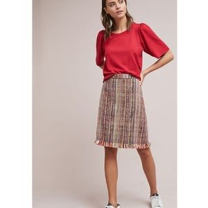 Anthropologie Maeve Zaire Tweed Fringe Skirt A